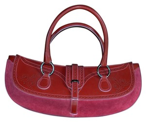 Tanner Krolle Leather Handstitched Satchel in red