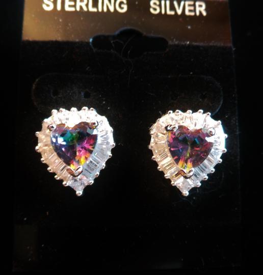 Other MYSTIC TOPAZ VALENTINE HEART & WHITE TOPAZ STERLING 925 SILVER STUD EARRING