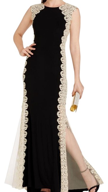 Xscape Black and Cream Crochet Lace Siding Long Formal Dress Size 6 (S) Xscape Black and Cream Crochet Lace Siding Long Formal Dress Size 6 (S) Image 1