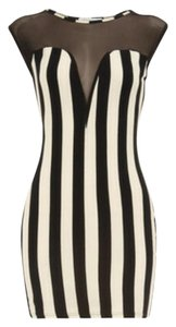 Dorothy Perkins short dress Black and cream Lace Mini Striped on Tradesy