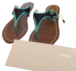 Prada Green/Black Sandals
