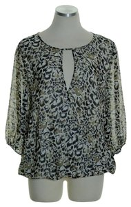 Vince Camuto Animal Print Surplice Top Brown