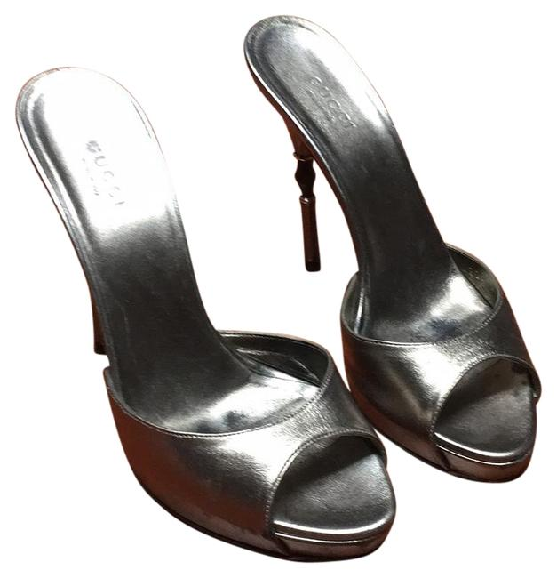 Item - Silver Mules/Slides Size US 6.5 Narrow (Aa, N)