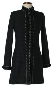 St. John St Boucle Knit Black Metallic Silver Jacket