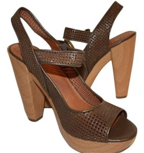 Lucky Brand Heels Sandals Coffee Bean Leather Size 8 Brown Platforms