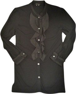 Theory Longsleeve Ruffle Button Down Shirt black