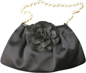 Violette Nozieres Pearl Satin Leather Evening Wristlet in black