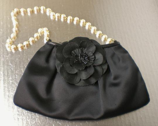 Violette Nozieres Pearl Leather Evening Camellia Chanel Style Wristlet in Black