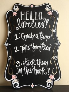 PRIVATE PARTY Black Board White Chalk Wording Pink and Gold Accents Photo Booth Sign Props Other