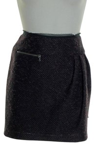 Nanette Lepore Wool Blend Mini Skirt Black Maroon
