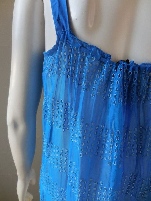 Other Eyelet Lace Lacey Sheer Trapeze Neon Top Bright Blue