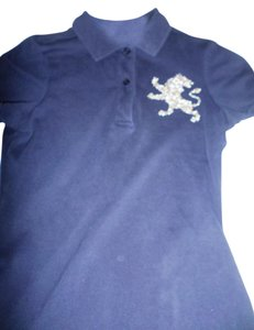 Express Polo Gold Silver T Shirt Blue