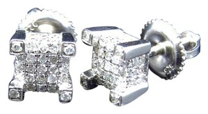 Other Genuine Diamond 3D Cube Stud Earrings In White Gold Finish 6mm (0.75 ct)