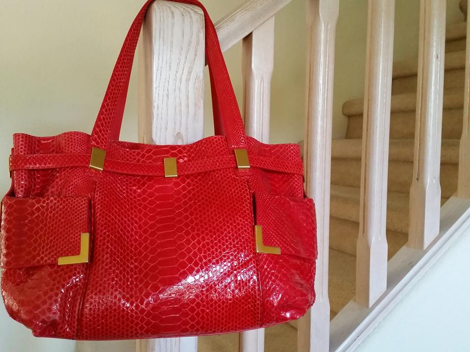 994b6b8ecff6 Michael Kors Beverly Runway Collection Fushcia Red Python Tote - Tradesy
