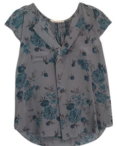 Rebecca Taylor Silk Grey And Blue Silk Top Floral