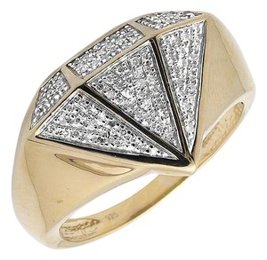 Other Yellow Gold Finish Diamond Shape Genuine Diamond Pinky Exclusive Ring 0.40ct.