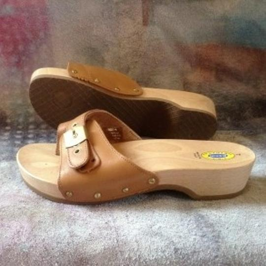 Dr. Scholl's Leather Wood Exercise Size 7 tan Sandals