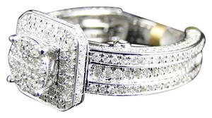 Other Ladies 10K White Gold Eternity Style Pave Diamond Engagement Bridal Wedding Ring