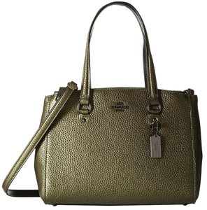 Coach Christie Shoudler Satchel in Metallic olive green