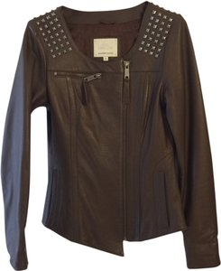 Madison Marcus Leather Blazer Coat Leather Studded Rockstar Brown Leather Jacket