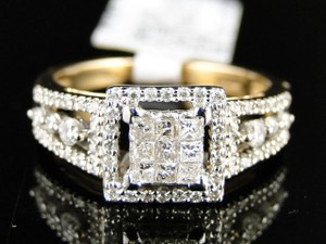 14k Ladies Womens Yellow Gold Princess Cut Diamond Engagement Ring 1/2 Ct