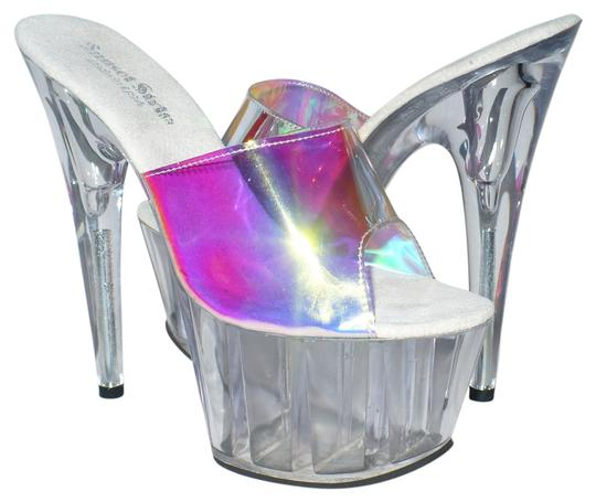 Sunset Strip Stiletto Mule Exotic Dance Costume Iridescent Clear Platforms