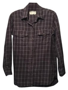 Current/Elliott Button Down Shirt Navy/ grey