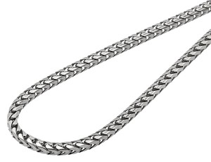 Other Solid 10K White Gold 3MM Wide Franco Box Link Chain Necklace 30 Inches