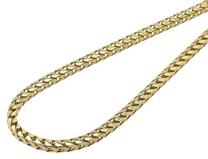 Solid 10K Yellow Gold 3MM Wide Franco Box Link Chain Necklace 24 inches