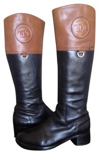 Etienne Aigner Leather Riding Black, brown Boots