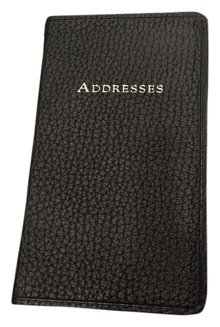 """Item - Black Leather New Address Book Size: 5-1/4"""" By 3""""."""
