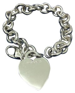 Tiffany & Co. Tiffany & Co Sterling Silver Heart Charm Tag Bracelet 7.5 inch