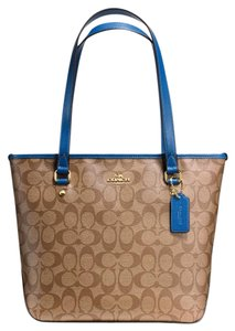 Coach Zip Blue Women Tote in Khaki/bright mineral