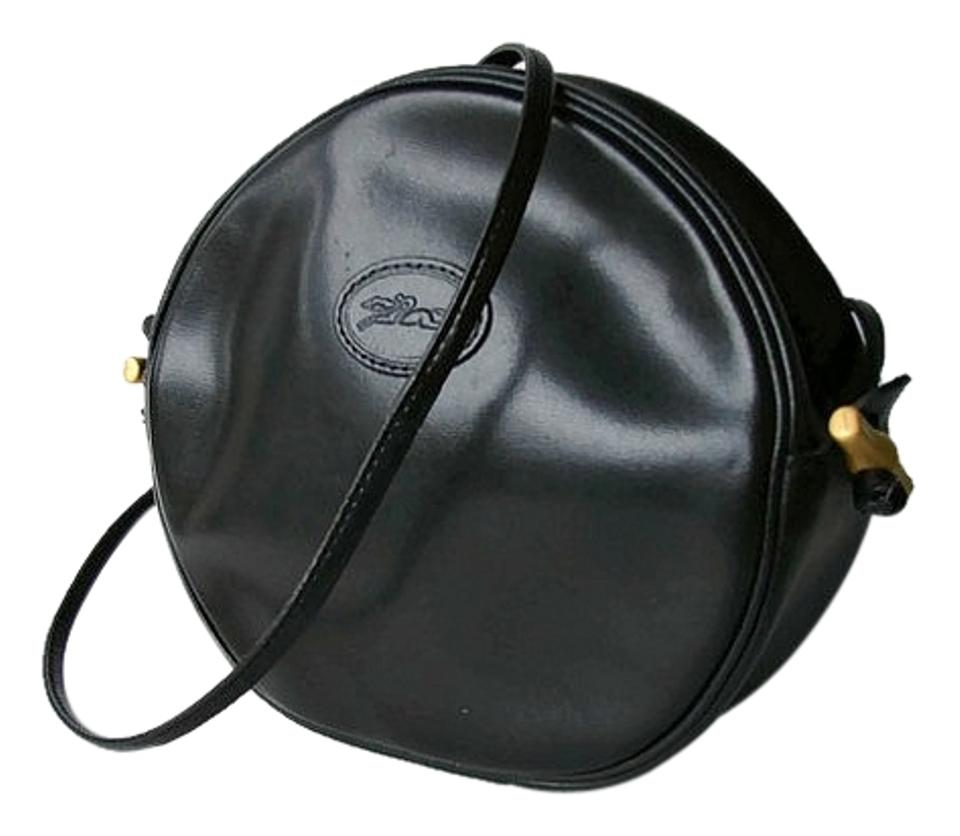 cf77a3ff314a Longchamp Round Made In France Purse Black Leather Cross Body Bag ...
