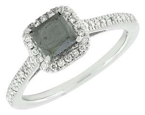 Other 14k White Gold Treated Princess Black Diamond Solitaire Engagement Ring 1.0 Ct