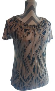 Dana Buchman Short Sleeve T Shirt Khaki Tan Black