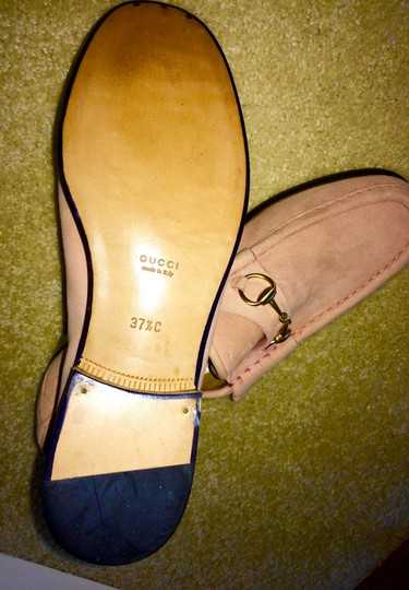 Gucci Leather Suede Peach Flats