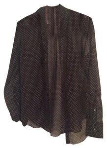 Velvet by Graham & Spencer Polka Dot Button Down Shirt Black