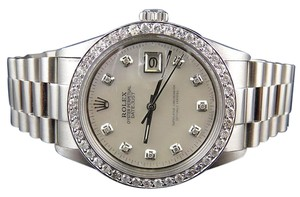 Rolex Mens Stainless Steel Rolex Datejust Presidential Mm Mother Pearl Watch 2.5Ct