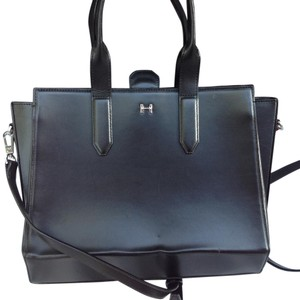 Halston Hertiage Leather Baby Handle Satchel in Black