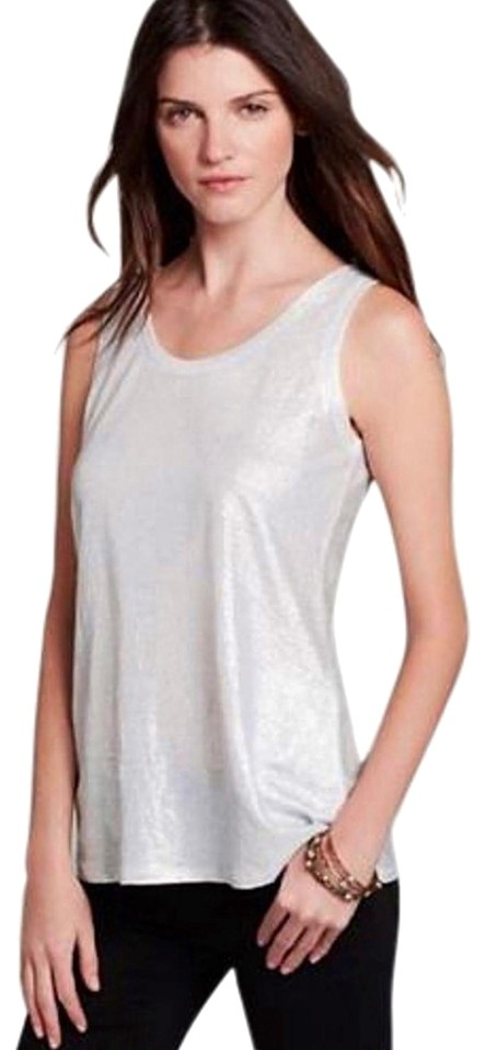 946b26956e0 Eileen Fisher Shimmer U Neck Sleeveless Organic Linen Holiday Staple Top  Silver Image 0 ...