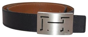 Hermès [EN]Shadow Outline Edge Trace Black Belt Silver Buckle H Logo MHMLM11