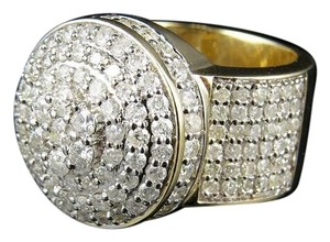 Other Mens 10k Yellow Gold Lollipop Dome Round Genuine Diamond Pinky Ring 4.35ct.