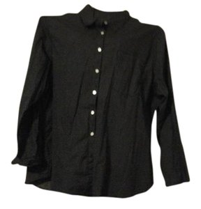 James Perse Button Down Shirt Black and white polka