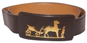 Hermès Hermes Leather Belt & Buckle With Horse Carriage HTL106