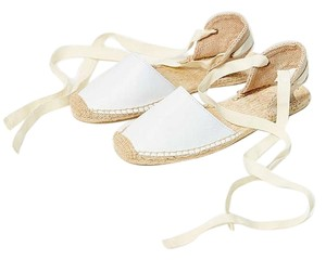 Soludos Flats Leather Lace-up White Sandals
