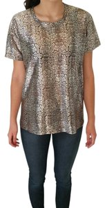 June & Hudson & Animal Print T Shirt Metallic Silver