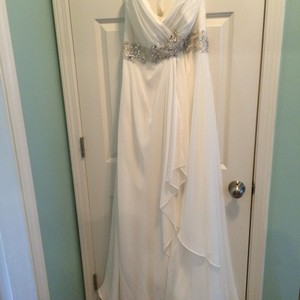 Mori Lee Ivory with Silver At Empire Waist Chiffon Voyage 6766 Casual Wedding Dress Size 12 (L)
