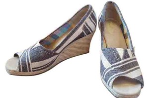 TOMS Canvas Taupe and brown stripe Wedges