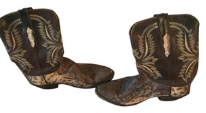 Lucchese brown and off white Boots